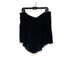 Black sheer Pleated Shorts